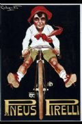 Vintage cycling advertisment poster - Pneus Pirelli